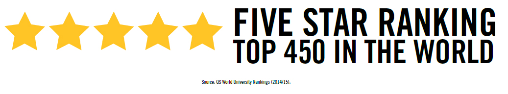 5 Star Ranking Graphic showing 5 stars with a description that University of Guelph also ranks in the top 450 in the world.