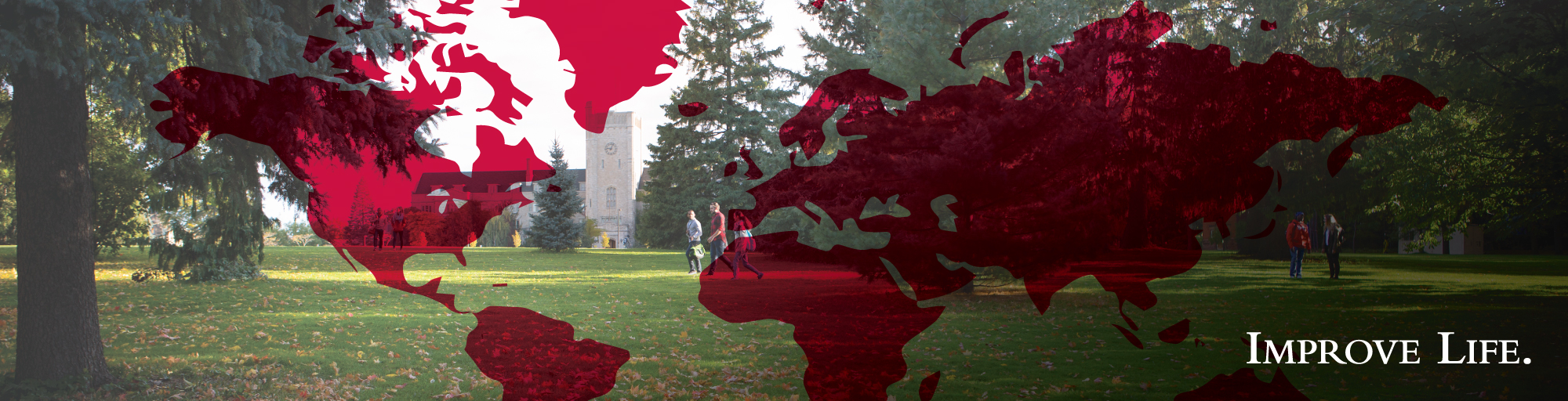 Students walking in front of Johnston Hall with a world map overlayed on the image.