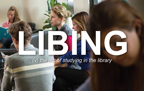 Libing: the act of studying in the library.