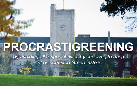 Procrastigreening: avoiding all responsibilities by choosing to hang out on Johnston Green instead.