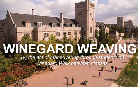 Winegard Weaving: the act of maneuvering through students on Winegard Walk between classes.