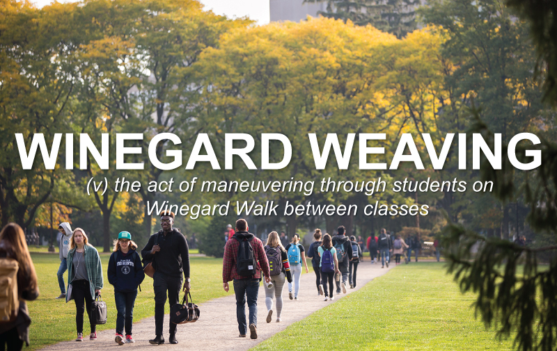 Wingard Weaving: the act of maneuvering through students on Winegard Walk between classes.