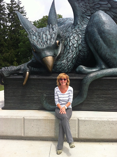 Lesley Jump and the Gryphon Statue.