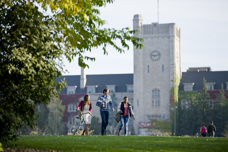 students on Johnston Green